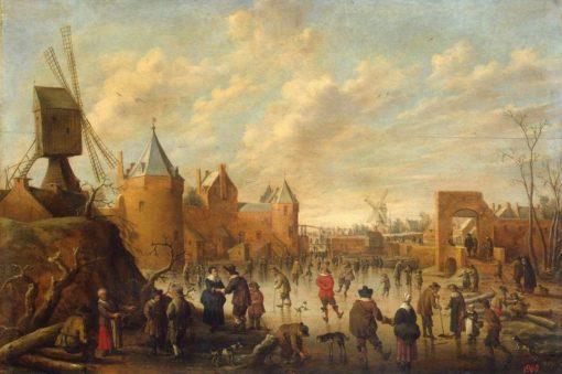 Winter in a Dutch Town   Joost Cornelisz. Droochsloot   Oil Painting
