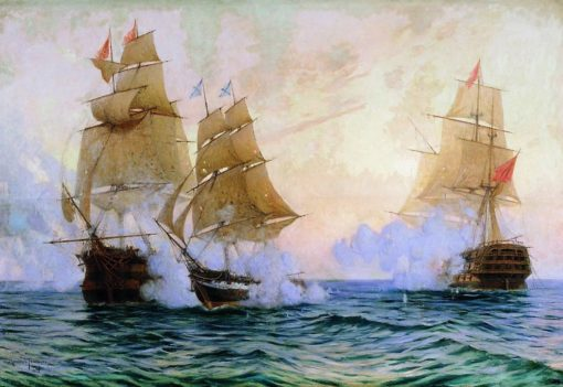The Battle of the Mercury Brig and Turkish Ships | Mikhail Tkachenko | Oil Painting