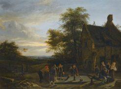 Figures before an inn