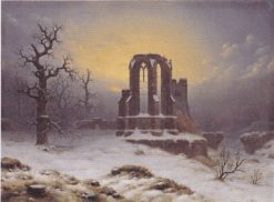 Church Ruins in the Snow | Carl Hasenpflug | Oil Painting