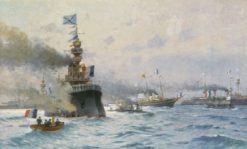 The Arrival of French Warships in Kronstadt | Mikhail Tkachenko | Oil Painting
