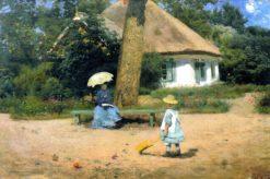 Family in the Garden | Mikhail Tkachenko | Oil Painting