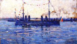 French Battleship | Mikhail Tkachenko | Oil Painting