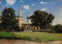 Landscape with Church | Mikhail Tkachenko | Oil Painting