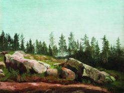 Forest Landscape with Rocks | Arseny Meschersky | Oil Painting