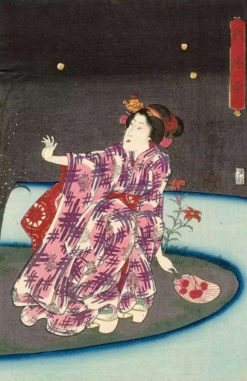 Catching Fireflies in the Cool of the Evening | Kuniyoshi Utagawa | Oil Painting