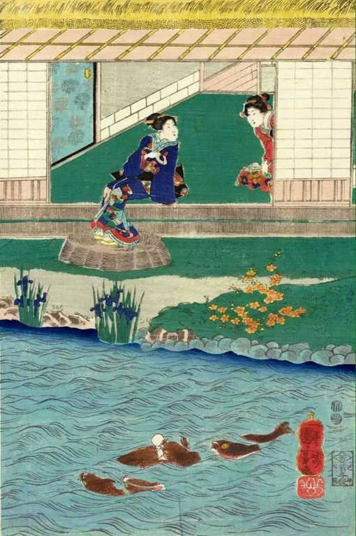 Beauties Enjoying Themselves in the Garden | Kuniyoshi Utagawa | Oil Painting