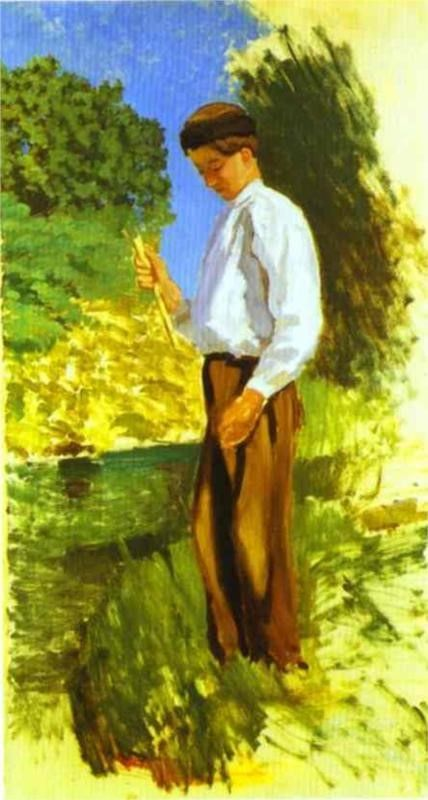 Louis Auriol Fishing | Jean Frederic Bazille | Oil Painting