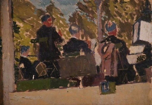 Brass Band in a Bandstand | Edward Morland Lewis | Oil Painting