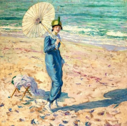On the Beach (also known as Girl in Blue) | Frederick Carl Frieseke | Oil Painting