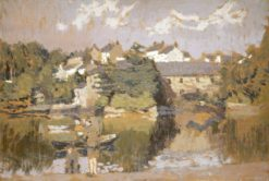 Buildings by a River | Edward Morland Lewis | Oil Painting