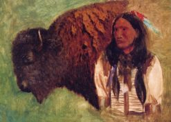Head of Buffalo and Indian | Albert Bierstadt | Oil Painting