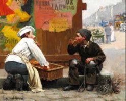 A new friend | Paul-Charles Chocarne-Moreau | Oil Painting