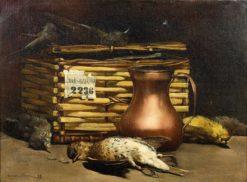 Nature morte aux oiseaux avec une grive musicienne et un pot en cuivre | Paul-Charles Chocarne-Moreau | Oil Painting
