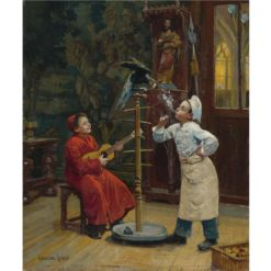Teasing the Parrot | Paul-Charles Chocarne-Moreau | Oil Painting