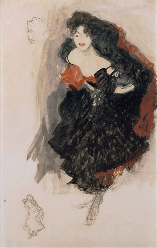 Dancer in a Flamenco Costume   Gustav Klimt   Oil Painting