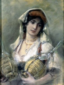 Portrait of a girl from the Alban mountains with two Chianti bottles | Bruno Piglhein | Oil Painting