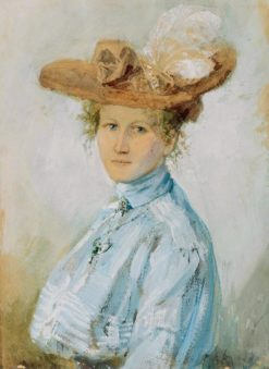 Young woman with feather hat | Bruno Piglhein | Oil Painting