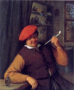 An Apothecary Smoking a Pipe (also known as An Apothecary Smoking in an Interior) | Adriaen van Ostade | Oil Painting