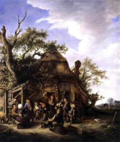 Merry Company of Peasants in front of an Inn (also known as Merry peasants.) | Adriaen van Ostade | Oil Painting