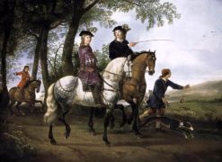 Landscape with a Hunt (also known as The Three Huntsmen) | Aelbert Cuyp | Oil Painting