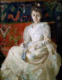 Woman on a Rooster Ryijy Rug (also known as Nainen kukkoryijyllä) | Akseli Gallen-Kallela | Oil Painting