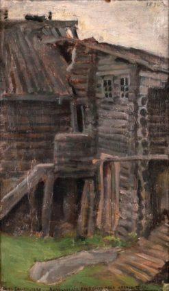 The House of Rune Singer Pahkomi at Akonlahti (also known as Runonlaulaja Pahkomin talo Akonlahdelta) | Akseli Gallen-Kallela | Oil Painting