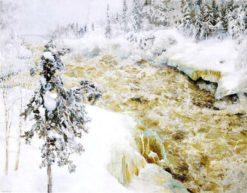 Imatra Falls in Snow (also known as Imatra talvella)   Akseli Gallen-Kallela   Oil Painting