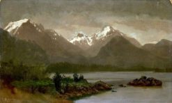 Mountains and Lake   Albert Bierstadt   Oil Painting