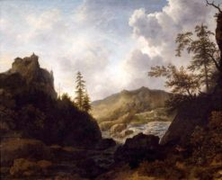 Nordic Landscape with a Castle on a Hill (also known as Norway Landscape) | Allaert van Everdingen | Oil Painting