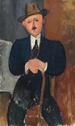 Seated Man (also known as Seated Man Leaning on a Cane) | Amedeo Modigliani | Oil Painting
