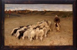Sheep and shepherdess | Konstantin Semenovich Vysotsky | Oil Painting