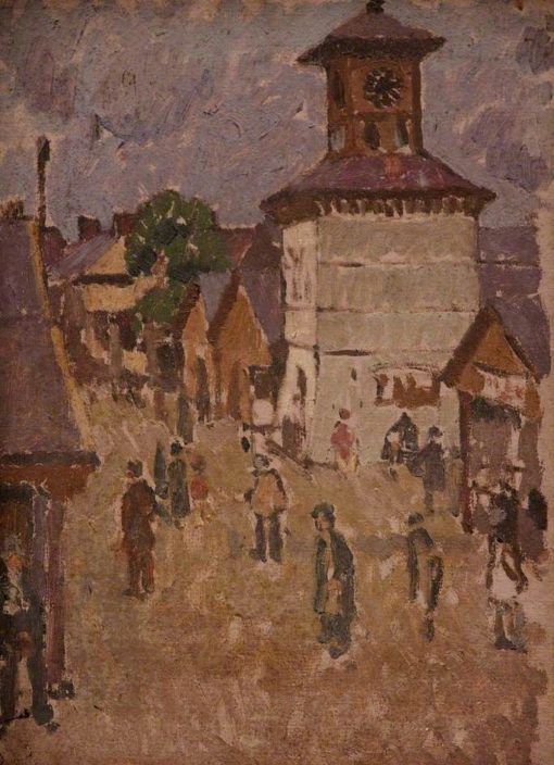 Carmarthen Market and Clock Tower | Edward Morland Lewis | Oil Painting