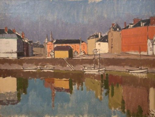 Quayside with Reflections | Edward Morland Lewis | Oil Painting