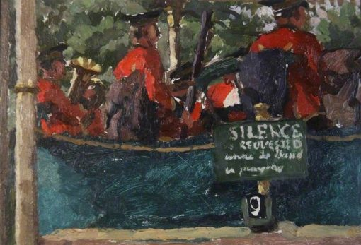The Band Plays   Edward Morland Lewis   Oil Painting