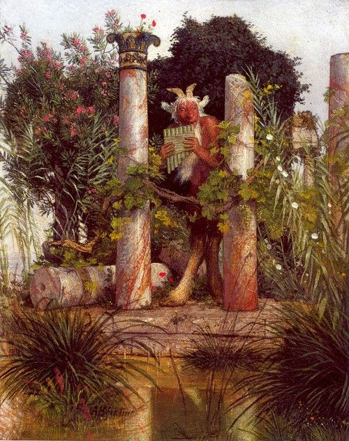 Faun blowing the Pan Pipes (also known as Pan Amidst Columns) | Arnold Böcklin | Oil Painting