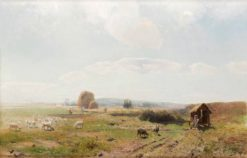 From Ramlösa with Helsingborg in the background   Gustaf Rydberg   Oil Painting