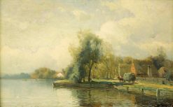Landscape with Pond   Gustaf Rydberg   Oil Painting