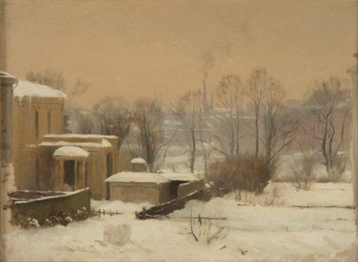 Urban Snow. Study   Gustaf Rydberg   Oil Painting