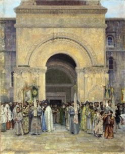 Religious procession at the Echmiadzin Cathedral | Vardkes Sureniants | Oil Painting