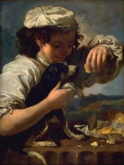 A Boy with a Dog (also known as Allegory of Taste) | Bernhard Keil | Oil Painting