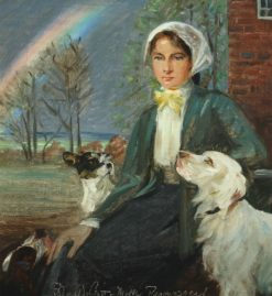 A Young Woman with Her Dogs at Ryomgaard | Harald Slott-Møller | Oil Painting
