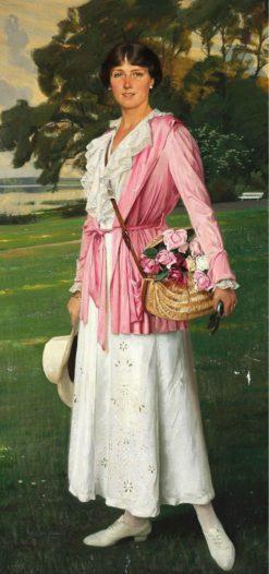 The Artist's Daughter Lykke in the Garden with a Basket of Roses | Harald Slott-Møller | Oil Painting