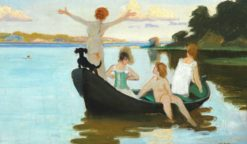 Bathing Girls in a Rowboat on a Summer Day Just Before Sunset | Harald Slott-Møller | Oil Painting