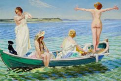 Girls in a green rowing boat on a summer day | Harald Slott-Møller | Oil Painting