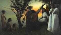 The poet Holger Drachmann surrounded by six women | Harald Slott-Møller | Oil Painting