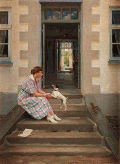 A woman and her dog   Harald Slott-Møller   Oil Painting