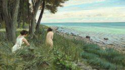 Two bathing girls at the beach on Als | Harald Slott-Møller | Oil Painting