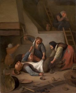 Interior with Women Thrashing a Man (also known as Peasants Fighting) | Jan Havicksz. Steen | Oil Painting