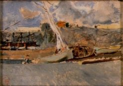 Landscape with Barges | Mariàno Fortuny y Marsal | Oil Painting